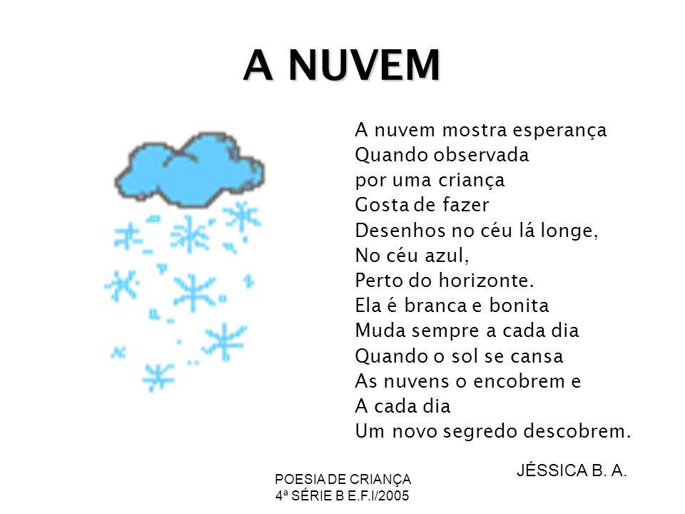 POESIA DE CRIANÇA 4ª SÉRIE B E.F.I/2005 A NUVEM A nuvem mostra esperança Quando observada por uma criança Gosta de fazer Desenhos no céu lá longe, No