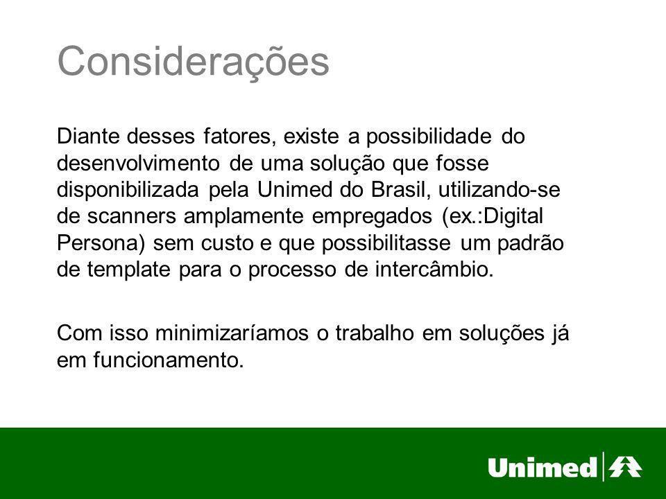 Considerações Diante desses fatores, existe a possibilidade do desenvolvimento de uma solução que fosse disponibilizada pela Unimed do Brasil, utiliza