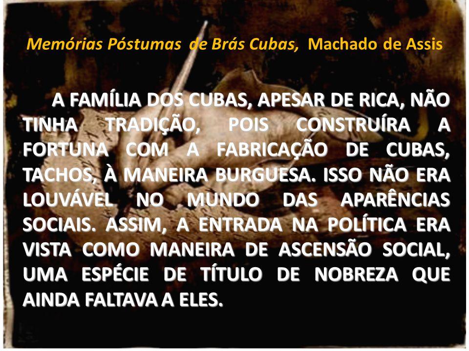 Memórias Póstumas de Brás Cubas, Machado de Assis A FAMÍLIA DOS CUBAS, APESAR DE RICA, NÃO TINHA TRADIÇÃO, POIS CONSTRUÍRA A FORTUNA COM A FABRICAÇÃO