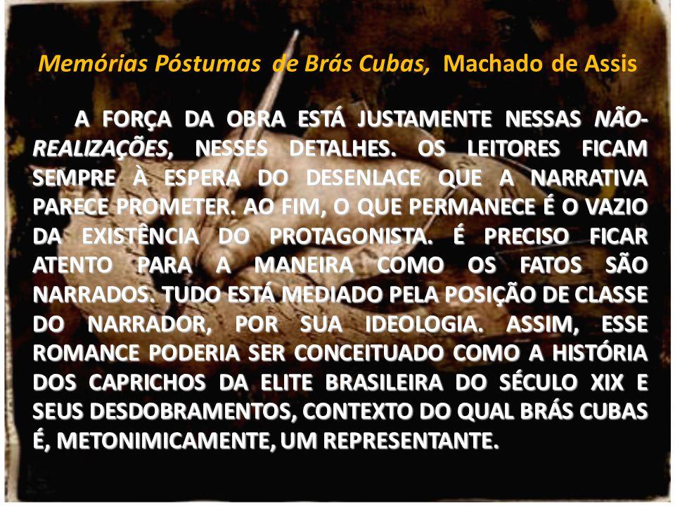 Memórias Póstumas de Brás Cubas, Machado de Assis A FORÇA DA OBRA ESTÁ JUSTAMENTE NESSAS NÃO- REALIZAÇÕES, NESSES DETALHES. OS LEITORES FICAM SEMPRE À