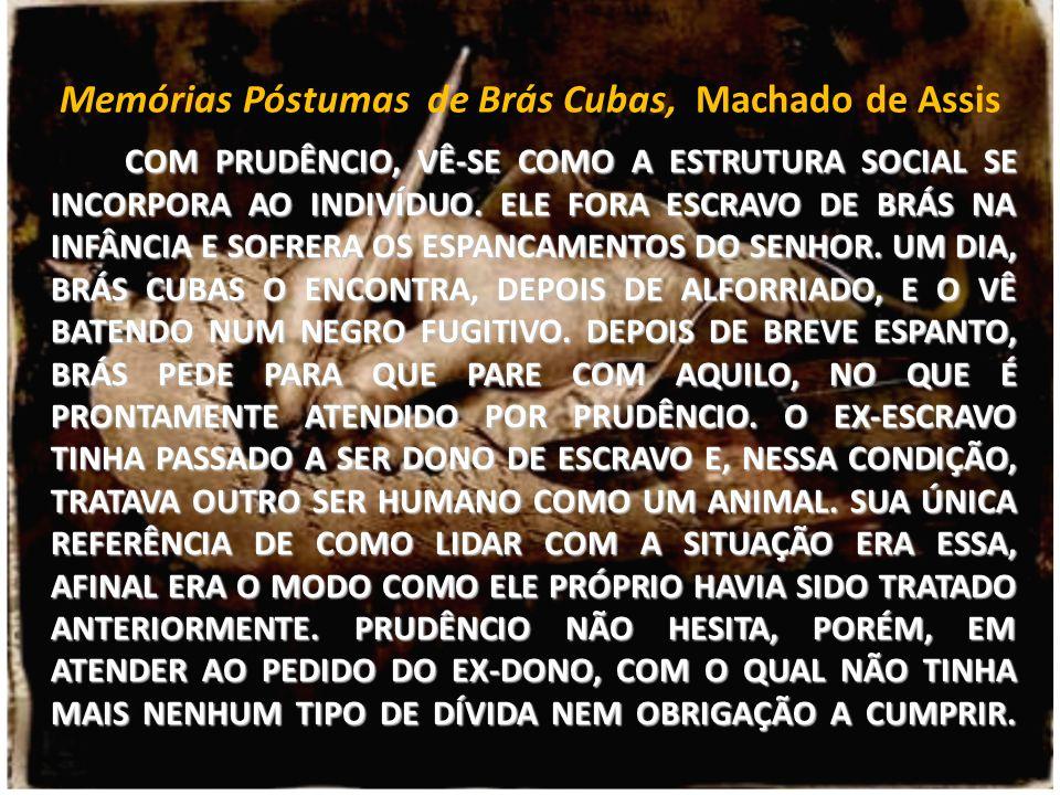 Memórias Póstumas de Brás Cubas, Machado de Assis COM PRUDÊNCIO, VÊ-SE COMO A ESTRUTURA SOCIAL SE INCORPORA AO INDIVÍDUO. ELE FORA ESCRAVO DE BRÁS NA