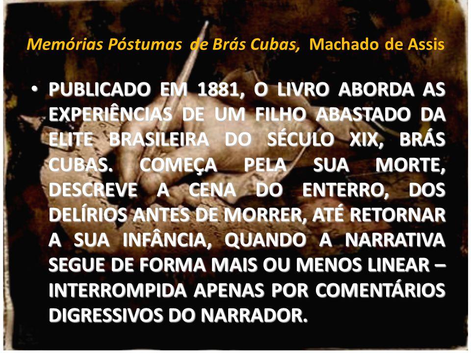 Memórias Póstumas de Brás Cubas, Machado de Assis PUBLICADO EM 1881, O LIVRO ABORDA AS EXPERIÊNCIAS DE UM FILHO ABASTADO DA ELITE BRASILEIRA DO SÉCULO