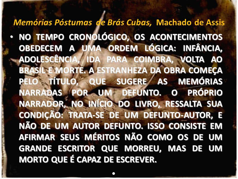 Memórias Póstumas de Brás Cubas, Machado de Assis NO TEMPO CRONOLÓGICO, OS ACONTECIMENTOS OBEDECEM A UMA ORDEM LÓGICA: INFÂNCIA, ADOLESCÊNCIA, IDA PAR