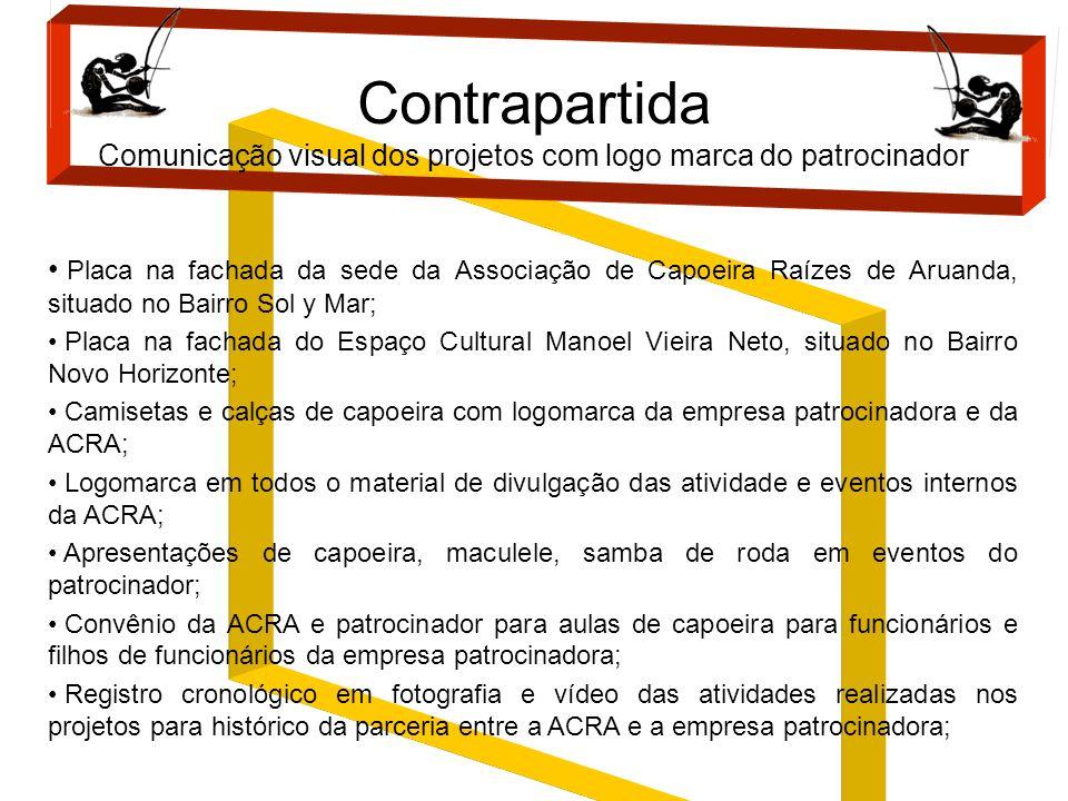 Placa na fachada da sede da Associação de Capoeira Raízes de Aruanda, situado no Bairro Sol y Mar; Placa na fachada do Espaço Cultural Manoel Vieira N