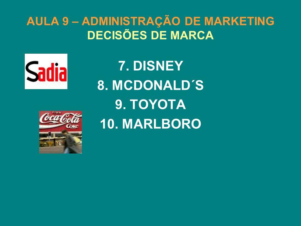 AULA 9 – ADMINISTRAÇÃO DE MARKETING DECISÕES DE MARCA 7. DISNEY 8. MCDONALD´S 9. TOYOTA 10. MARLBORO