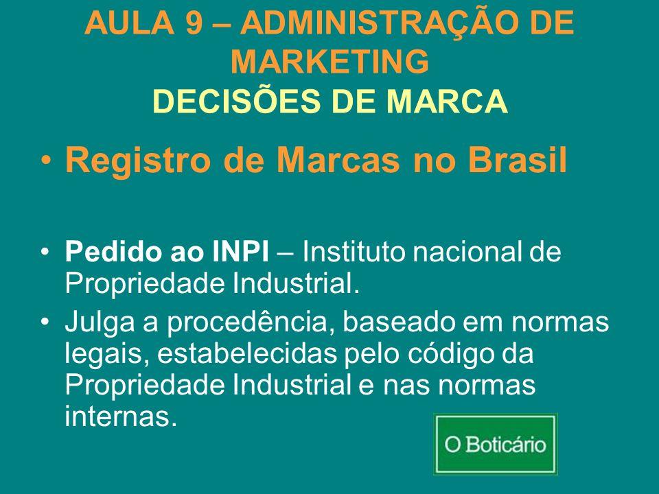 AULA 9 – ADMINISTRAÇÃO DE MARKETING DECISÕES DE MARCA Registro de Marcas no Brasil Pedido ao INPI – Instituto nacional de Propriedade Industrial. Julg