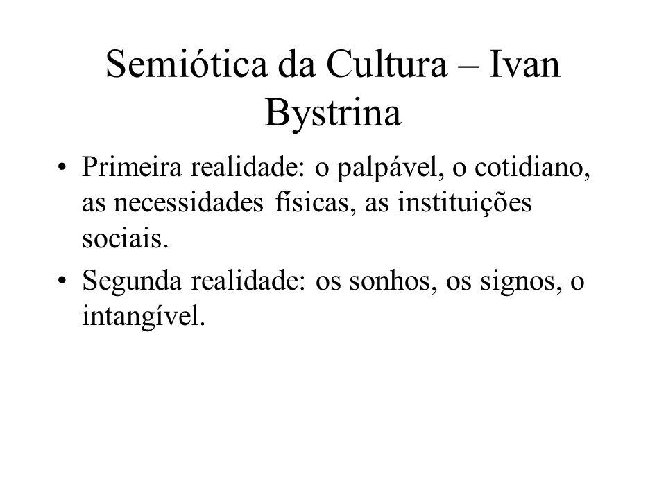 Semiótica da Cultura – Ivan Bystrina Primeira realidade: o palpável, o cotidiano, as necessidades físicas, as instituições sociais. Segunda realidade: