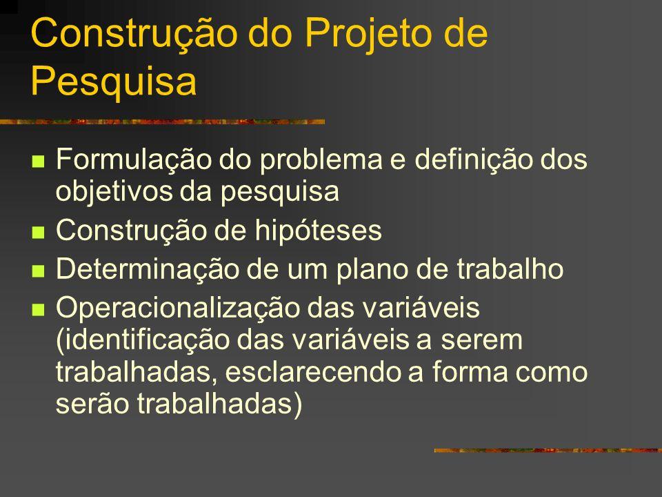 Construção do Projeto de Pesquisa Formulação do problema e definição dos objetivos da pesquisa Construção de hipóteses Determinação de um plano de tra
