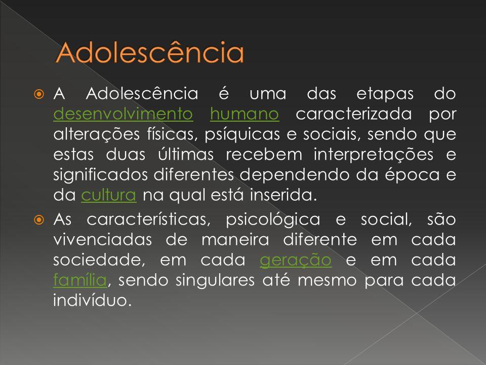 A Adolescência é uma das etapas do desenvolvimento humano caracterizada por alterações físicas, psíquicas e sociais, sendo que estas duas últimas rece