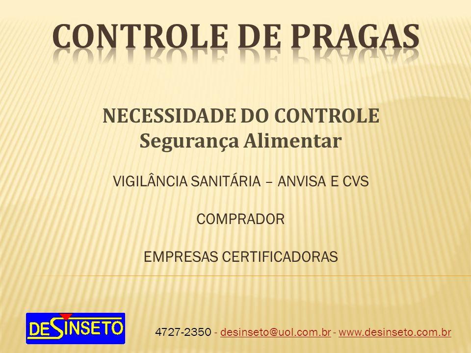 4727-2350 - desinseto@uol.com.br - www.desinseto.com.brdesinseto@uol.com.brwww.desinseto.com.br NECESSIDADE DO CONTROLE Segurança Alimentar VIGILÂNCIA