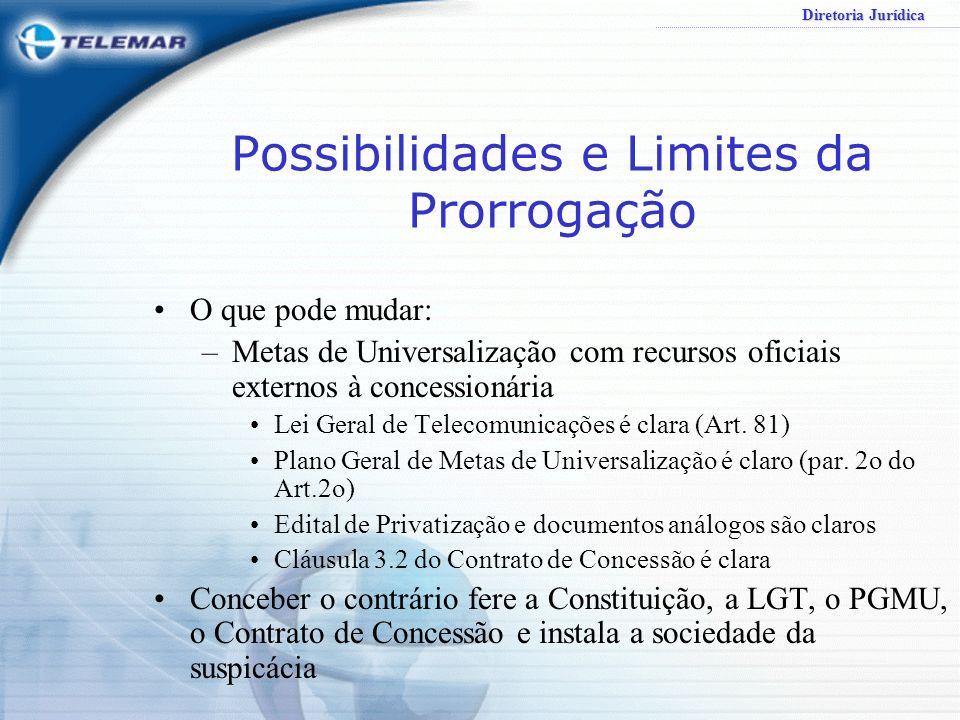 Diretoria Jurídica Possibilidades e Limites da Prorrogação O que pode mudar: –Metas de Universalização com recursos oficiais externos à concessionária