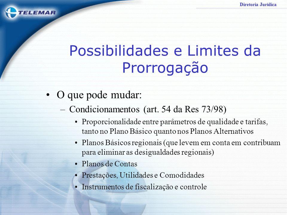 Diretoria Jurídica Possibilidades e Limites da Prorrogação O que pode mudar: –Condicionamentos (art. 54 da Res 73/98) Proporcionalidade entre parâmetr