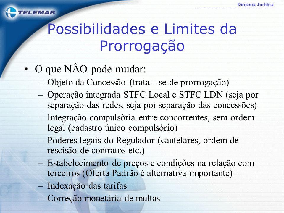 Diretoria Jurídica Possibilidades e Limites da Prorrogação O que NÃO pode mudar: –Objeto da Concessão (trata – se de prorrogação) –Operação integrada