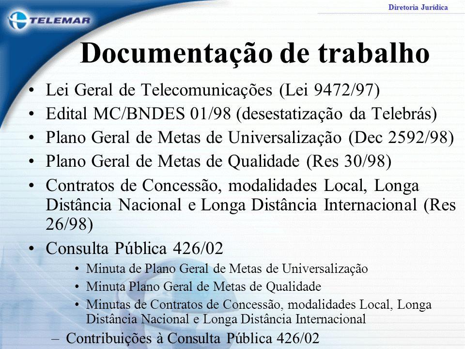 Diretoria Jurídica Documentação de trabalho Lei Geral de Telecomunicações (Lei 9472/97) Edital MC/BNDES 01/98 (desestatização da Telebrás) Plano Geral