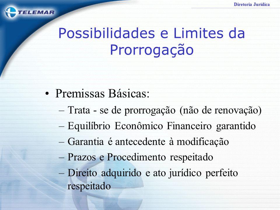 Diretoria Jurídica Possibilidades e Limites da Prorrogação Premissas Básicas: –Trata - se de prorrogação (não de renovação) –Equilíbrio Econômico Fina