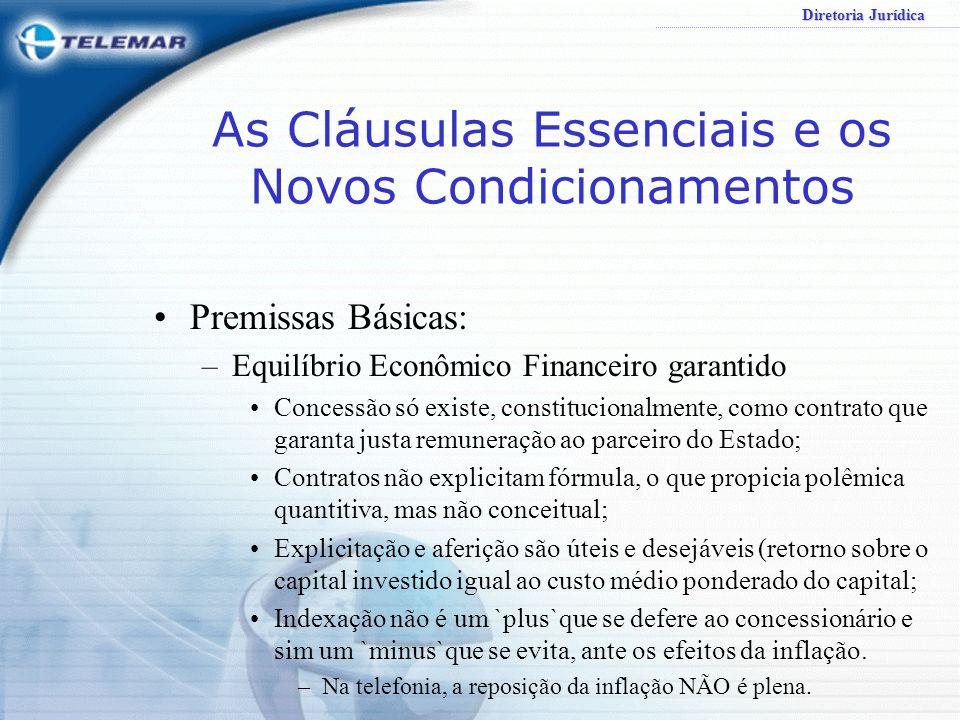 Diretoria Jurídica As Cláusulas Essenciais e os Novos Condicionamentos Premissas Básicas: –Equilíbrio Econômico Financeiro garantido Concessão só exis
