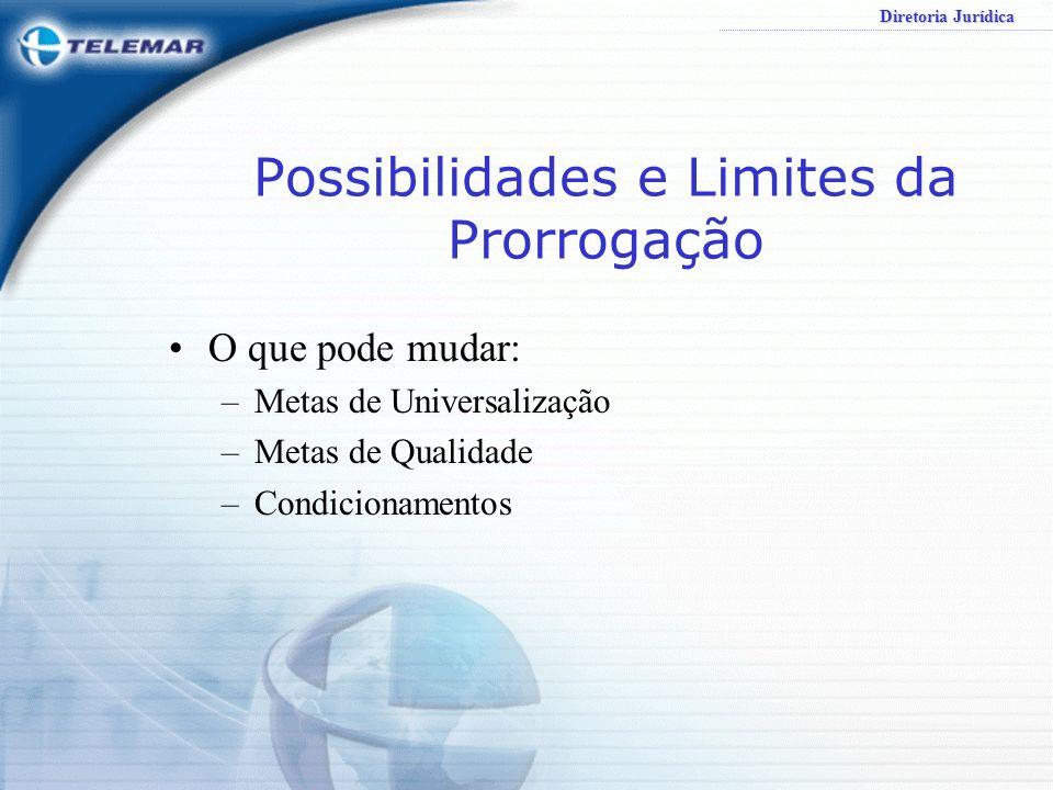 Diretoria Jurídica Possibilidades e Limites da Prorrogação O que pode mudar: –Metas de Universalização –Metas de Qualidade –Condicionamentos