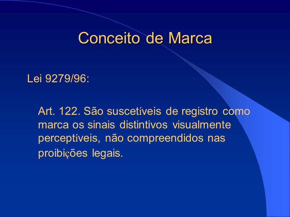 Conceito de Marca Lei 9279/96: Art. 122. São suscet í veis de registro como marca os sinais distintivos visualmente percept í veis, não compreendidos