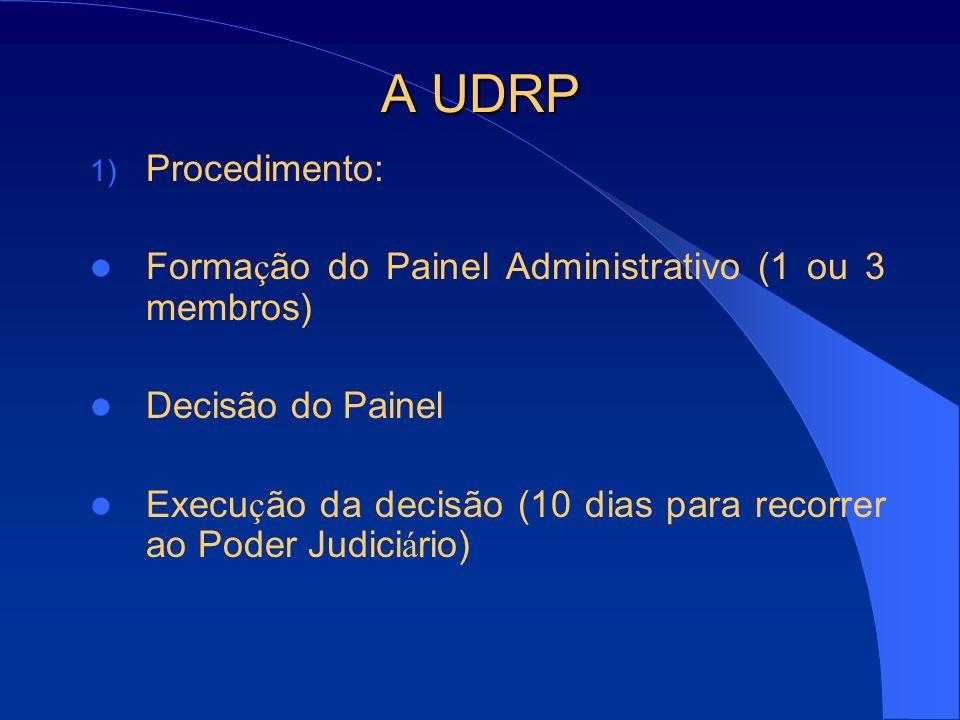 A UDRP 1) Procedimento: Forma ç ão do Painel Administrativo (1 ou 3 membros) Decisão do Painel Execu ç ão da decisão (10 dias para recorrer ao Poder J