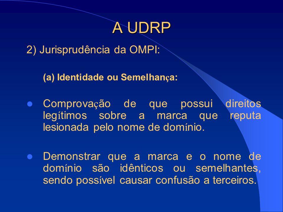 A UDRP 2) Jurisprudência da OMPI: (a) Identidade ou Semelhan ç a: Comprova ç ão de que possui direitos leg í timos sobre a marca que reputa lesionada