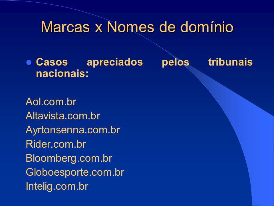 Marcas x Nomes de domínio Casos apreciados pelos tribunais nacionais: Aol.com.br Altavista.com.br Ayrtonsenna.com.br Rider.com.br Bloomberg.com.br Glo