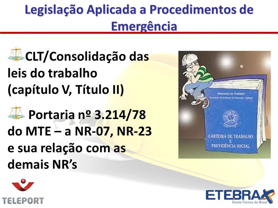 CLT/Consolidação das leis do trabalho (capítulo V, Título II) Portaria nº 3.214/78 do MTE – a NR-07, NR-23 e sua relação com as demais NRs Legislação