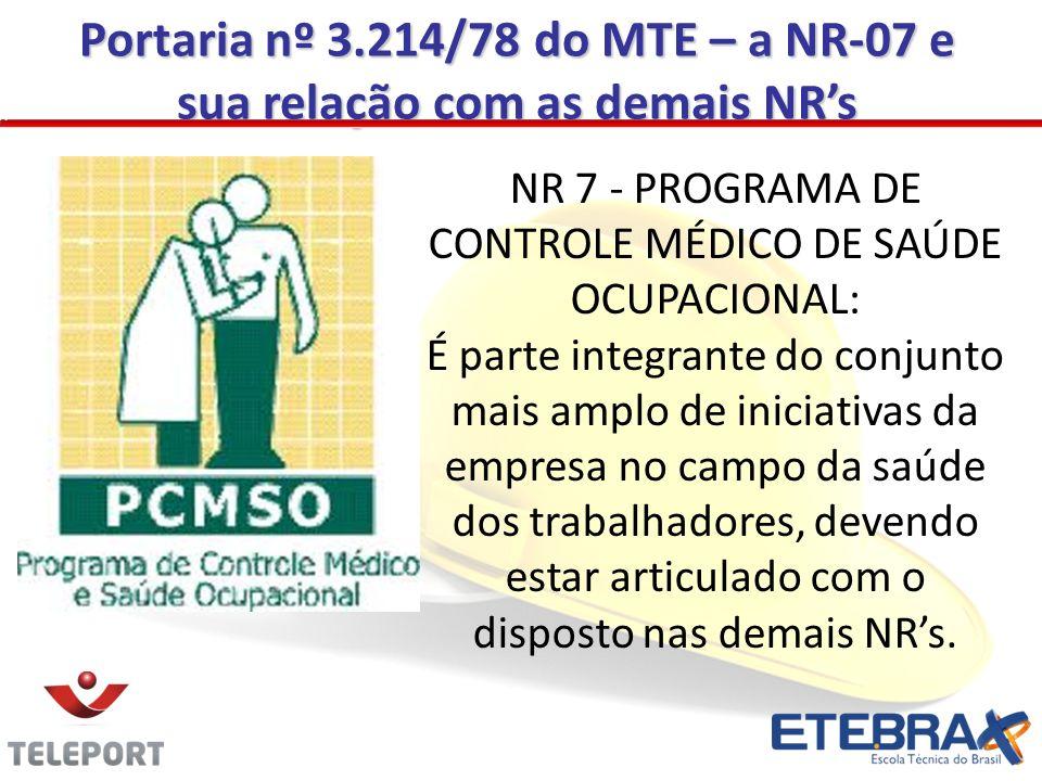Portaria nº 3.214/78 do MTE – a NR-07 e sua relação com as demais NRs NR 7 - PROGRAMA DE CONTROLE MÉDICO DE SAÚDE OCUPACIONAL: É parte integrante do c
