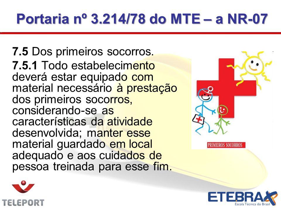 7.5 Dos primeiros socorros. 7.5.1 Todo estabelecimento deverá estar equipado com material necessário à prestação dos primeiros socorros, considerando-