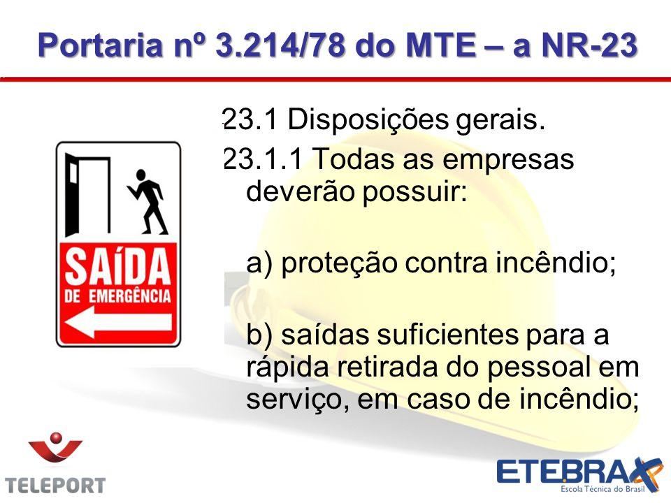 23.1 Disposições gerais. 23.1.1 Todas as empresas deverão possuir: a) proteção contra incêndio; b) saídas suficientes para a rápida retirada do pessoa