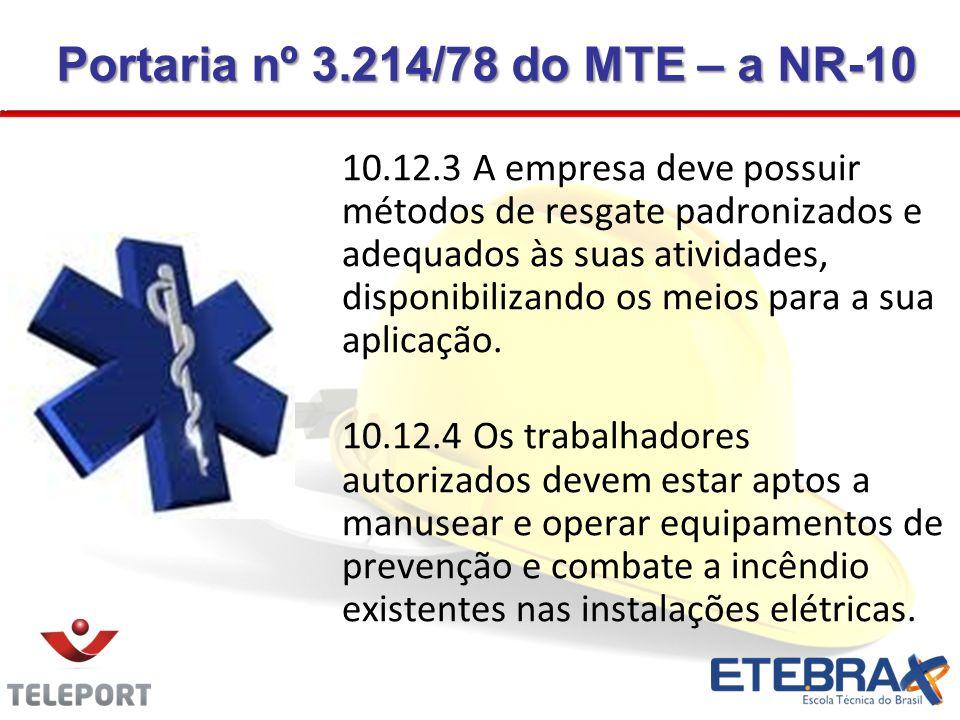10.12.3 A empresa deve possuir métodos de resgate padronizados e adequados às suas atividades, disponibilizando os meios para a sua aplicação. 10.12.4