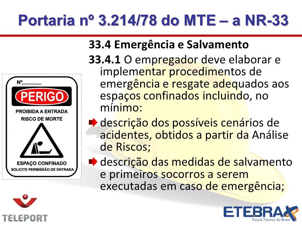 33.4 Emergência e Salvamento 33.4.1 O empregador deve elaborar e implementar procedimentos de emergência e resgate adequados aos espaços confinados in