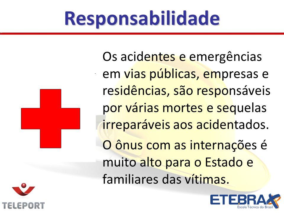 Responsabilidade Os acidentes e emergências em vias públicas, empresas e residências, são responsáveis por várias mortes e sequelas irreparáveis aos a