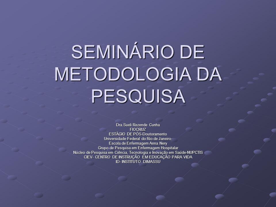 SEMINÁRIO DE METODOLOGIA DA PESQUISA Dra.Sueli Rezende Cunha FIOCRUZ ESTÁGIO DE PÓS-Doutoramento Universidade Federal do Rio de Janeiro- Escola de Enf
