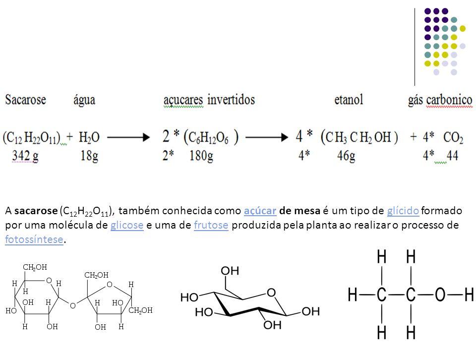 Assim 342 gramas de sacarose produzem 360 gramas de Açucares Redutores Totais (ART) que por sua vez produzem 184 gramas de etanol mais 176 gramas de gás carbônico.