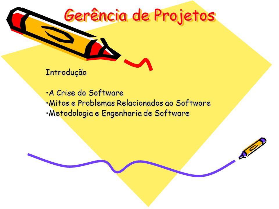 Gerência de Projetos Introdução A Crise do SoftwareA Crise do Software Mitos e Problemas Relacionados ao SoftwareMitos e Problemas Relacionados ao Sof