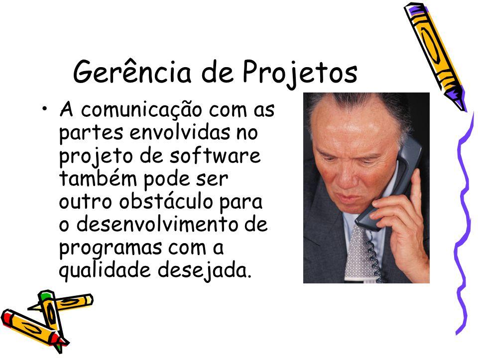 Gerência de Projetos A comunicação com as partes envolvidas no projeto de software também pode ser outro obstáculo para o desenvolvimento de programas