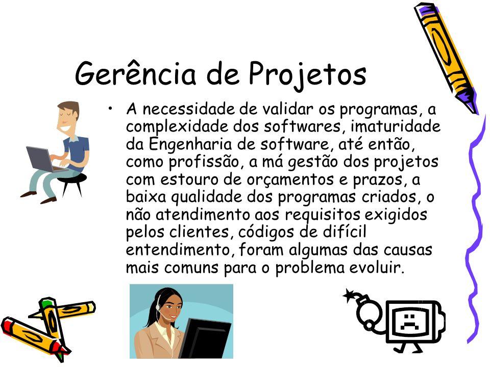 Gerência de Projetos A necessidade de validar os programas, a complexidade dos softwares, imaturidade da Engenharia de software, até então, como profi
