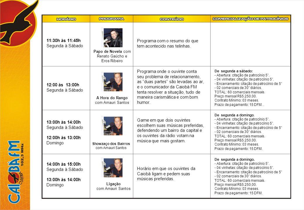 15:00 às 17:30h Segunda à Sábado 14:00 às 17:00h Domingo Boa Tarde Amizade com Alan Glen Programa musical com participação interativa dos ouvintes, pedindo músicas, participando de brincadeiras e games, como CAIOBÁ DÁ DE 100, SHOW DOS BAIRROS, CANTOR MISTERIOSO, além de torpedos durante todo o horário.