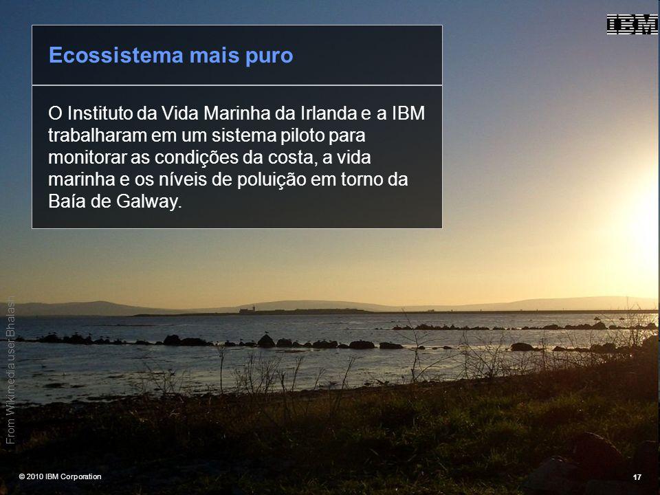 @ 2010 IBM Corporation17 O Instituto da Vida Marinha da Irlanda e a IBM trabalharam em um sistema piloto para monitorar as condições da costa, a vida