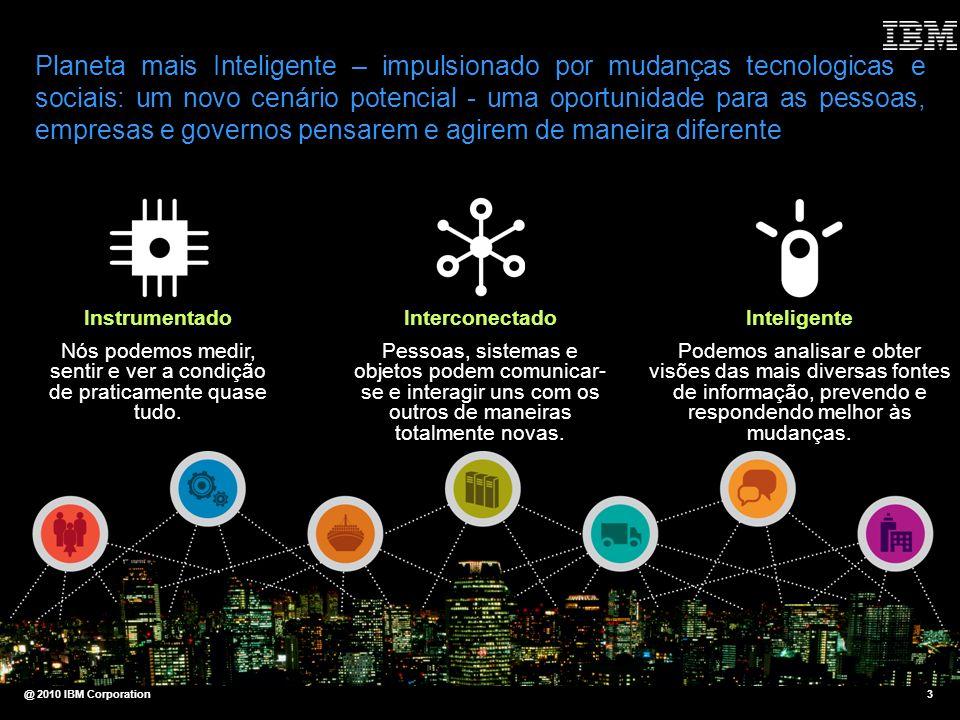 @ 2010 IBM Corporation3 Planeta mais Inteligente – impulsionado por mudanças tecnologicas e sociais: um novo cenário potencial - uma oportunidade para