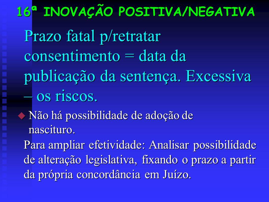 Prazo fatal p/retratar consentimento = data da publicação da sentença.