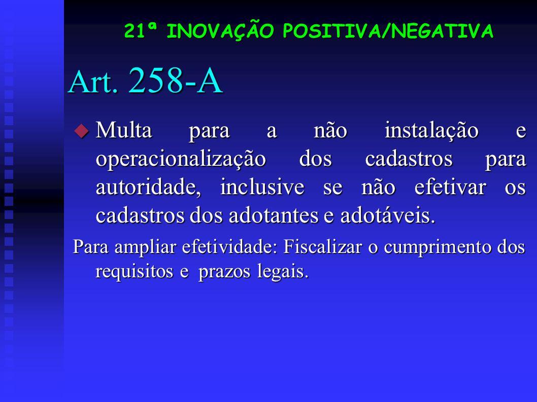 Art. 258-A Multa para a não instalação e operacionalização dos cadastros para autoridade, inclusive se não efetivar os cadastros dos adotantes e adotá