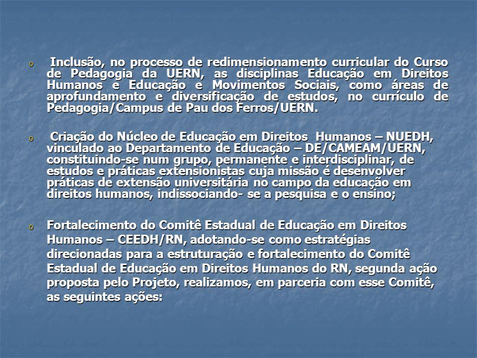 o Inclusão, no processo de redimensionamento curricular do Curso de Pedagogia da UERN, as disciplinas Educação em Direitos Humanos e Educação e Movime