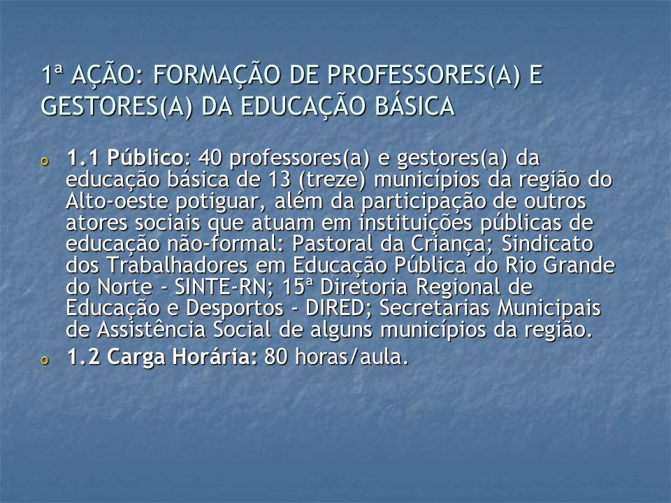 1ª AÇÃO: FORMAÇÃO DE PROFESSORES(A) E GESTORES(A) DA EDUCAÇÃO BÁSICA o 1.1 Público: 40 professores(a) e gestores(a) da educação básica de 13 (treze) m