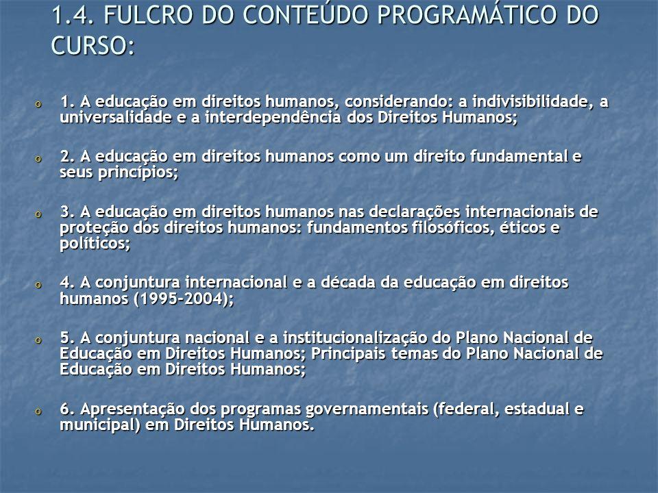 1.4. FULCRO DO CONTEÚDO PROGRAMÁTICO DO CURSO: o 1. A educação em direitos humanos, considerando: a indivisibilidade, a universalidade e a interdepend