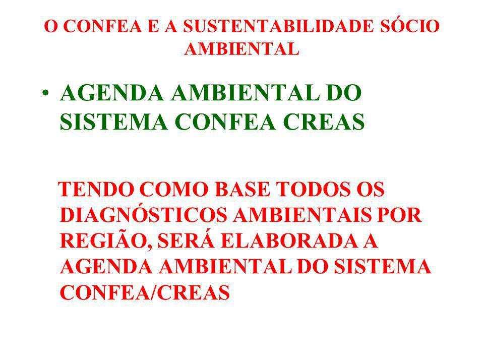 O CONFEA E A SUSTENTABILIDADE SÓCIO AMBIENTAL ENCONTROS REGIONAIS DE MEIO AMBIENTE A PARTIR DE MARÇO, O GT DE MEIO AMBIENTE ORGANIZOU OS ENCONTROS REGIONAIS DE COMISSÕES DE MEIO AMBIENTE DE CREAS.