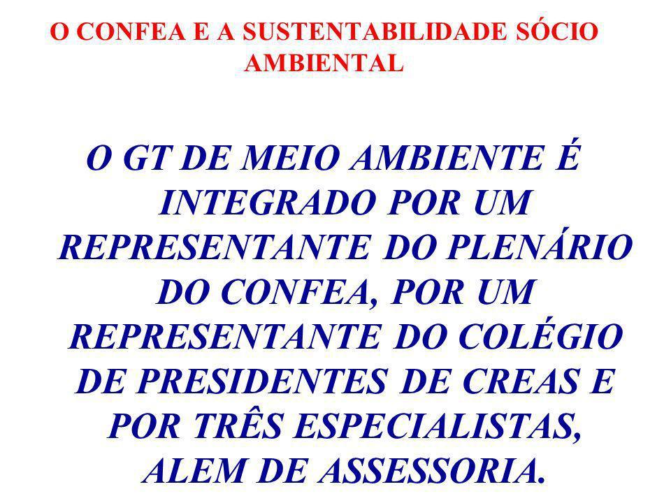 O CONFEA E A SUSTENTABILIDADE SÓCIO AMBIENTAL O GT DE MEIO AMBIENTE É INTEGRADO POR UM REPRESENTANTE DO PLENÁRIO DO CONFEA, POR UM REPRESENTANTE DO COLÉGIO DE PRESIDENTES DE CREAS E POR TRÊS ESPECIALISTAS, ALEM DE ASSESSORIA.