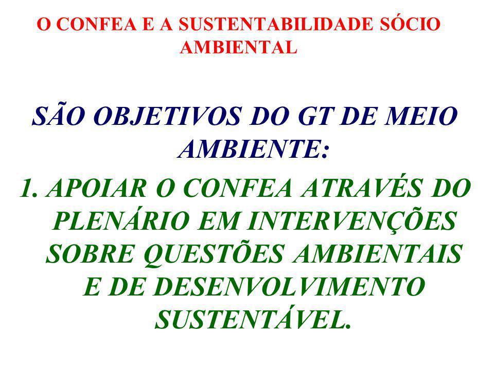 O CONFEA E A SUSTENTABILIDADE SÓCIO AMBIENTAL SÃO OBJETIVOS DO GT DE MEIO AMBIENTE: 1.