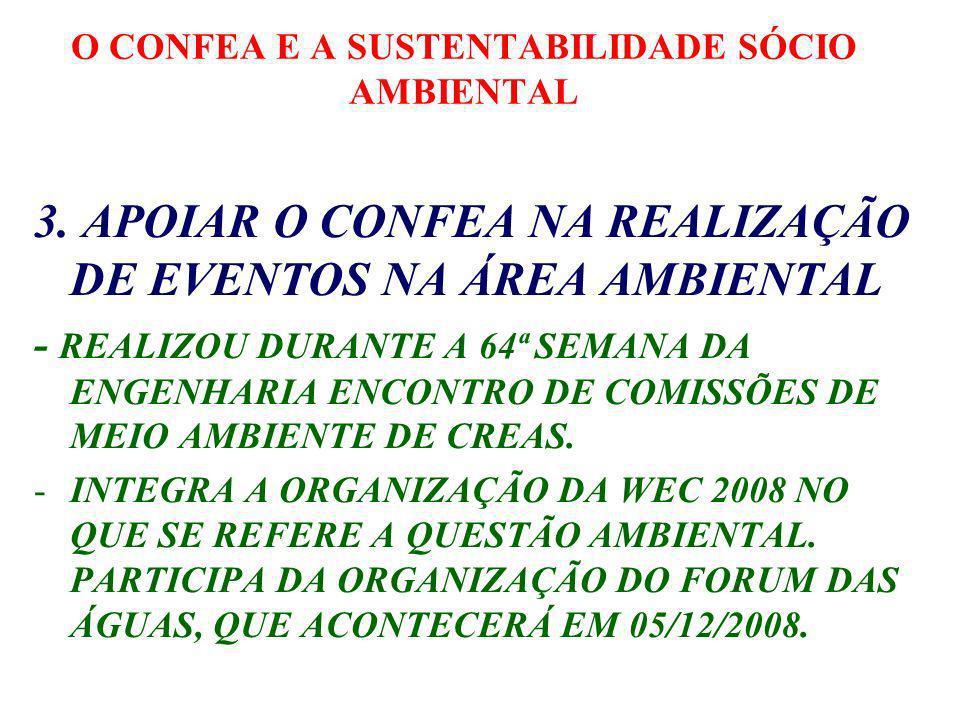 O CONFEA E A SUSTENTABILIDADE SÓCIO AMBIENTAL GT DE MEIO AMBIENTE E O PROJETO PENSAR BRASIL TRABALHO CONJUNTO E DE APOIO, COLOCANDO COMPONENTE DE SUSTENTABILIDADE SÓCIOAMBIENTAL NOS ESTUDOS, PROPOSTAS E DECISÕES