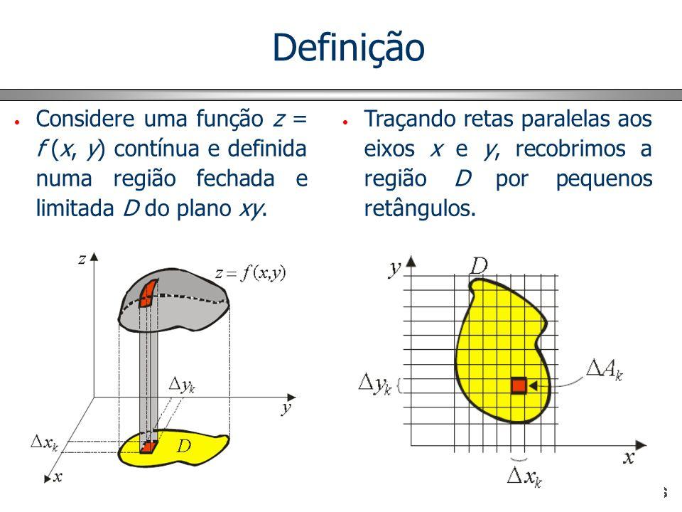 Definição Considere uma função z = f (x, y) contínua e definida numa região fechada e limitada D do plano xy. Traçando retas paralelas aos eixos x e y